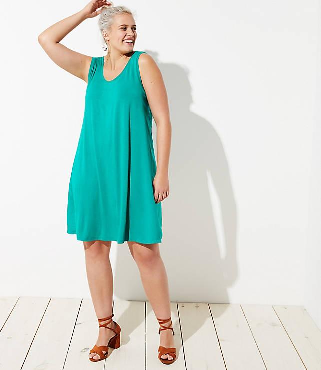 7b98785c7f LOFT Outlet Plus Mixed Media Sleeveless Swing Dress
