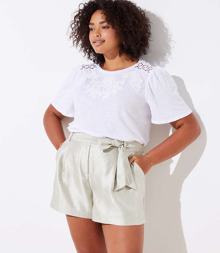 Loft Plus Shimmer Tie Waist Shorts by Loft