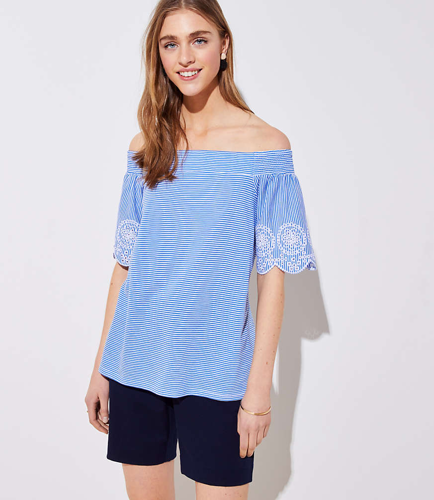 Petite Striped Eyelet Off The Shoulder Tee
