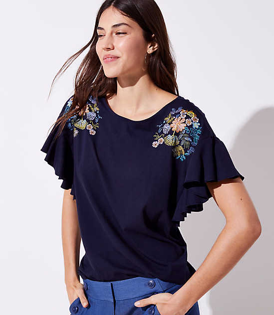 Petite Floral Embroidered Flutter Tee