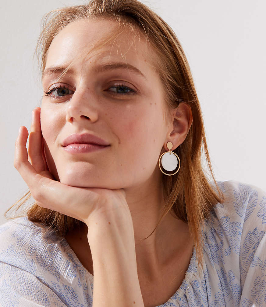 Stone Circle Drop Earrings by Loft