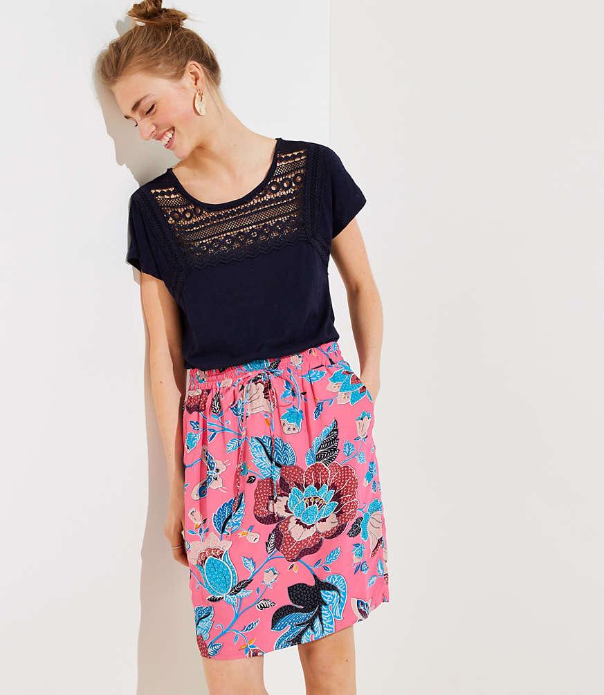 Petite Butterfly Garden Pocket Drawstring Skirt