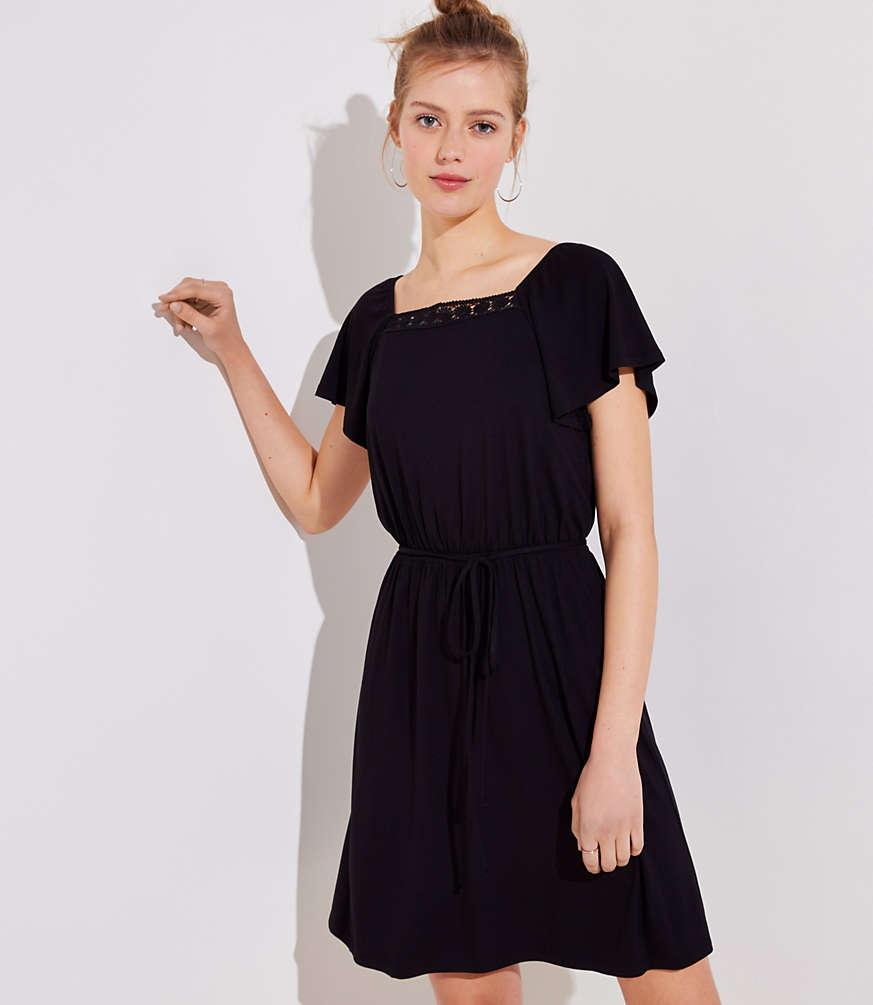 Petite Crochet Trim Square Neck Dress | LOFT