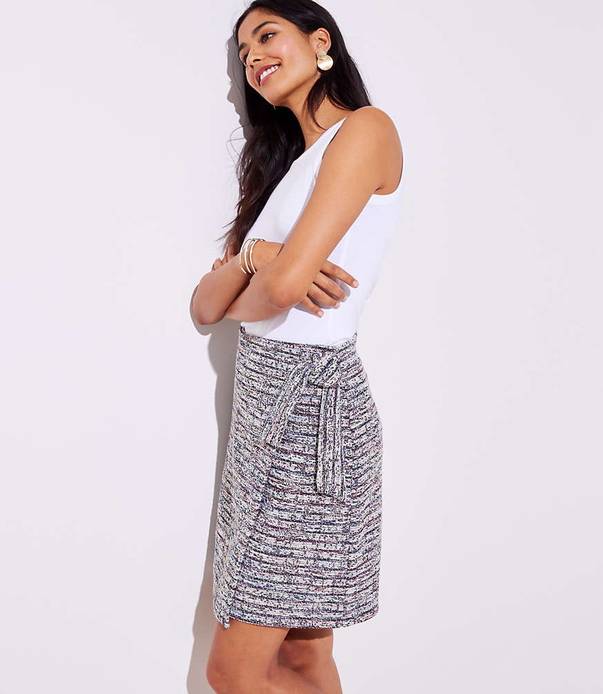 Petite Marled Stripe Wrap Skirt