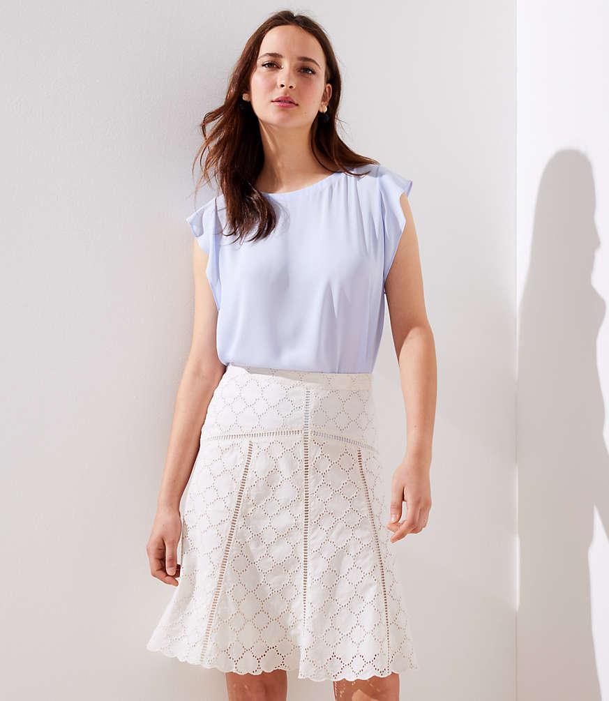 Petite Cutout Eyelet Skirt