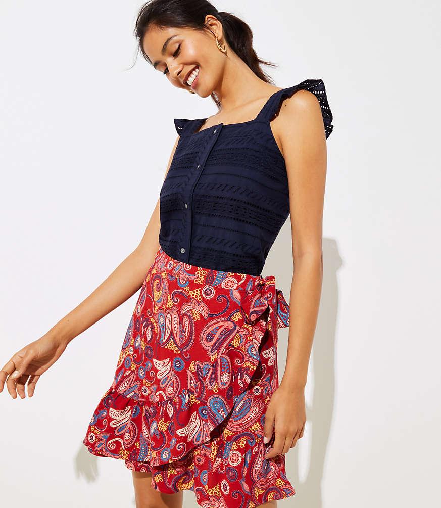 Petite Paisley Ruffle Wrap Skirt