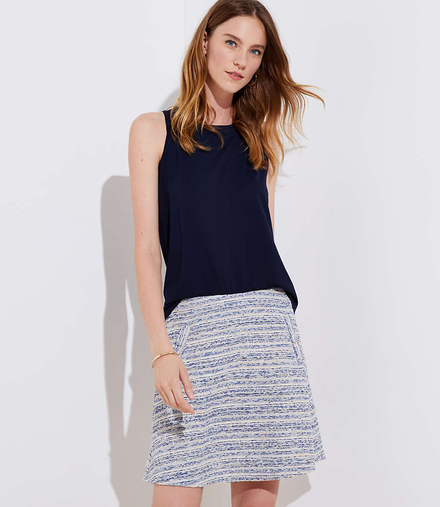 Petite Striped Tweed Pocket Flippy Skirt