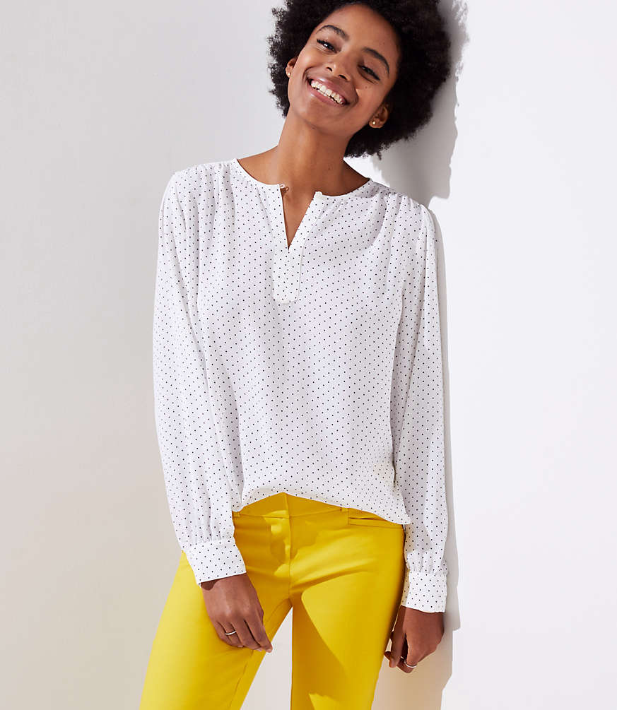 Petite Dotted Keyhole Blouse