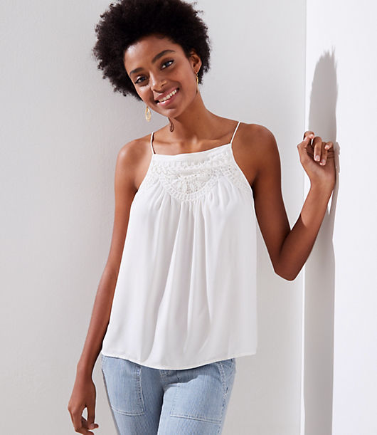 LOFT Crochet Neck Cami