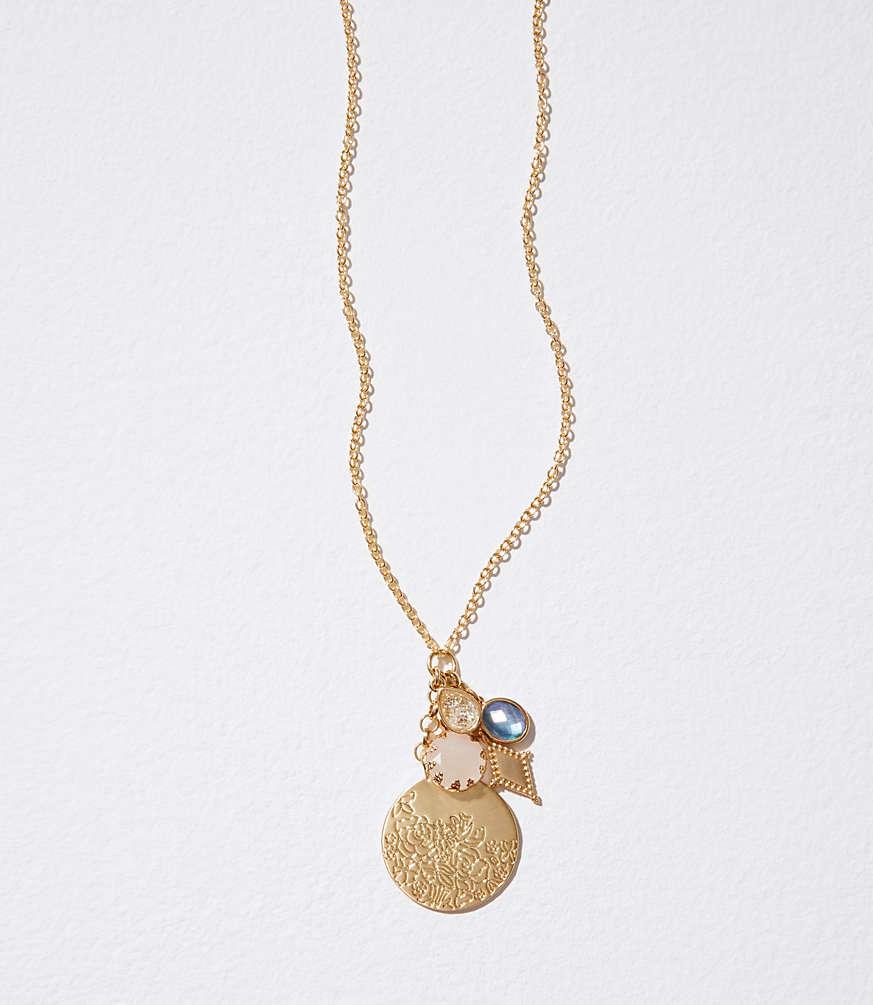 Stone disc cluster pendant necklace loft aloadofball Image collections