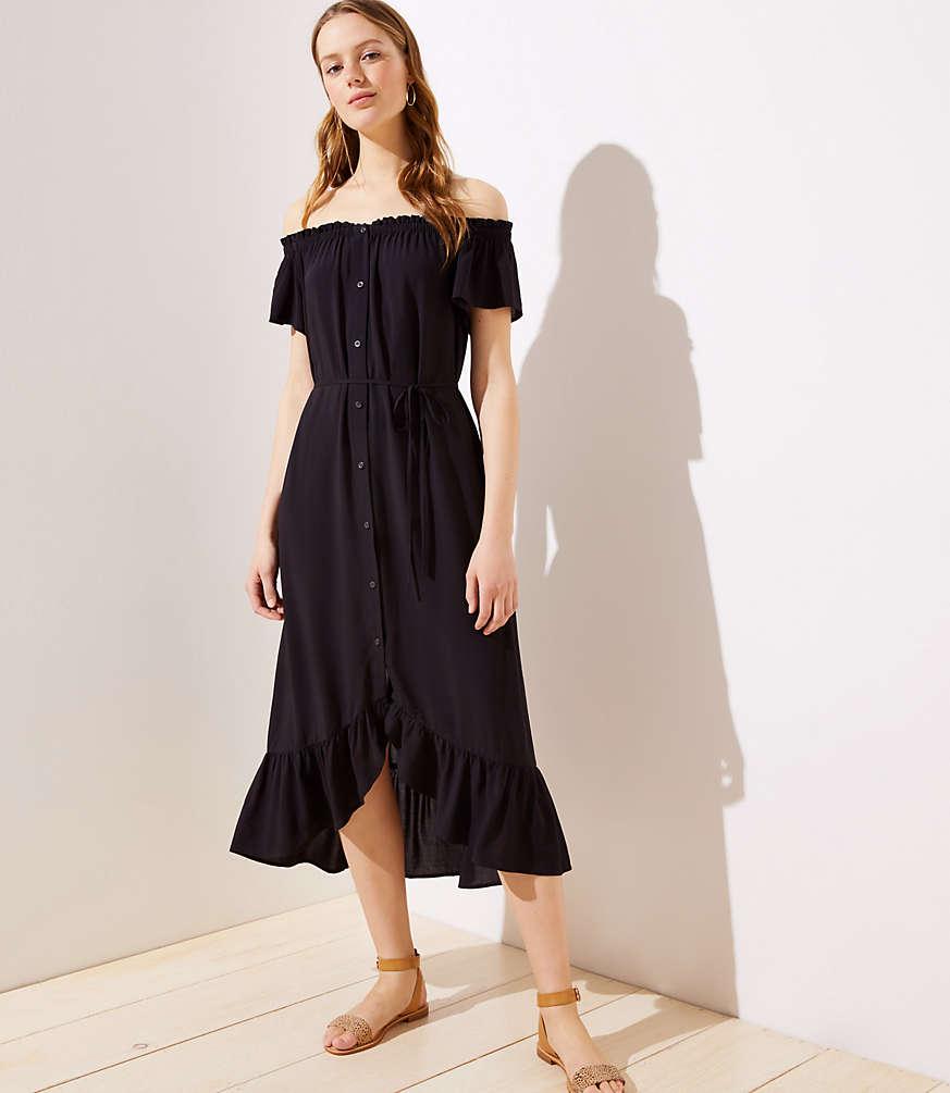 Petite Off The Shoulder Button Down Midi Dress