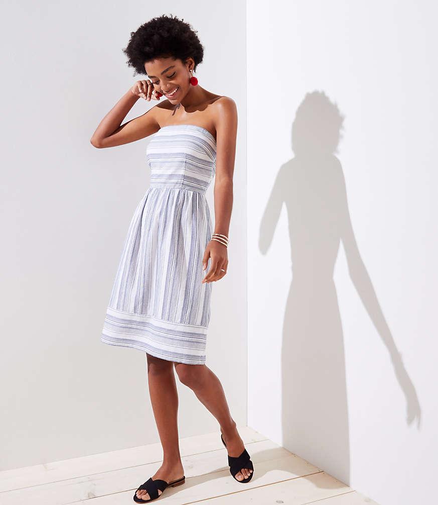 Petite Mixed Stripe Strapless Dress