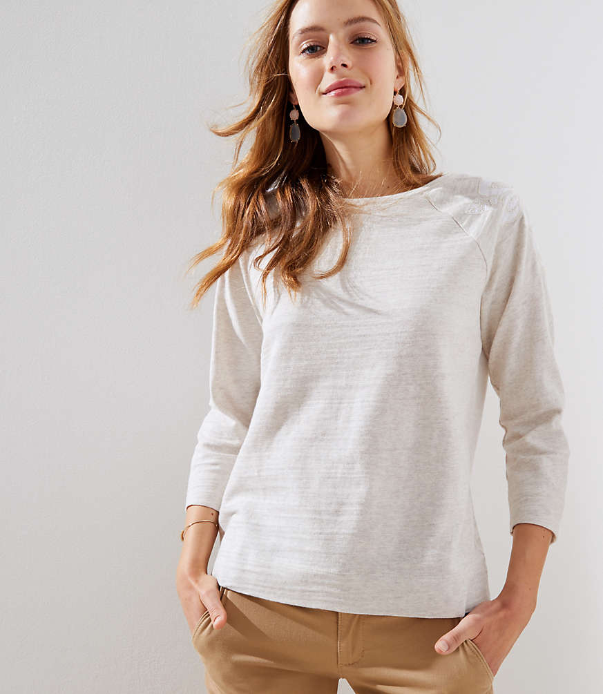 Beaded Floral Shoulder Sweatshirt by Loft
