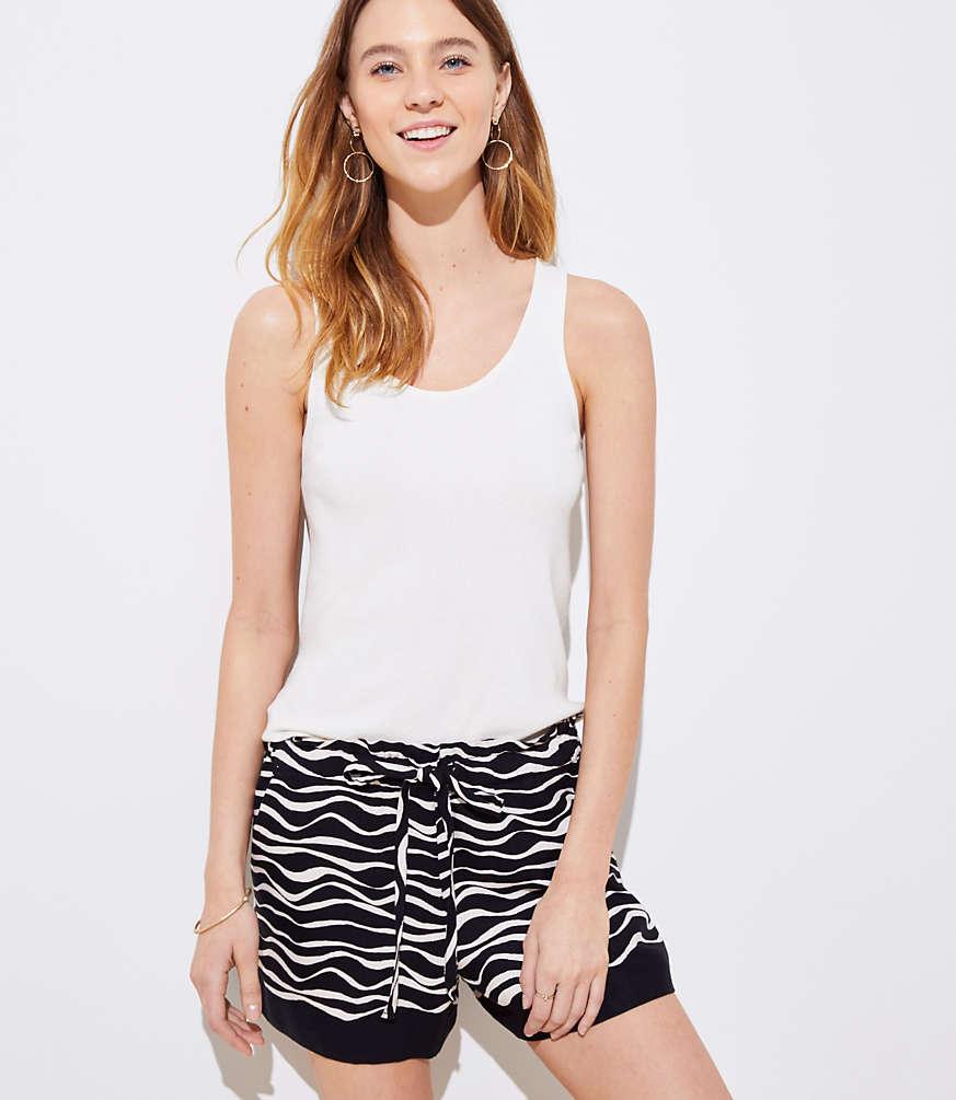 Petite Zebra Tie Waist Shorts