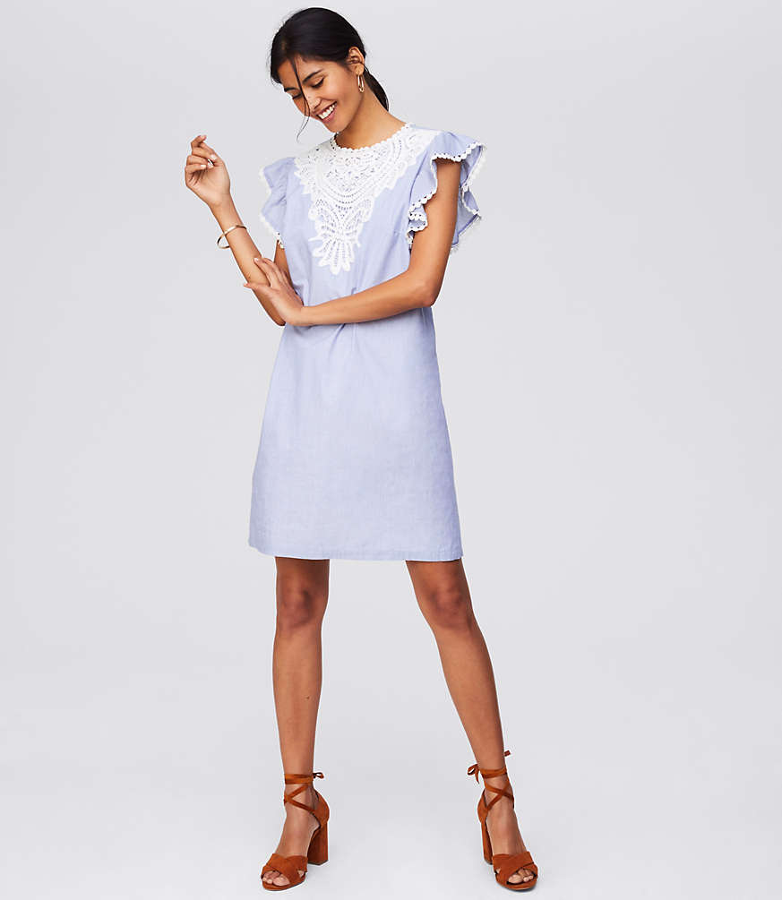 Crocheted Lace Flutter Dress | LOFT