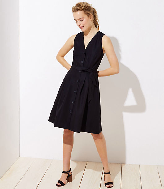 LOFT Button Down Pocket Flare Dress 25391749