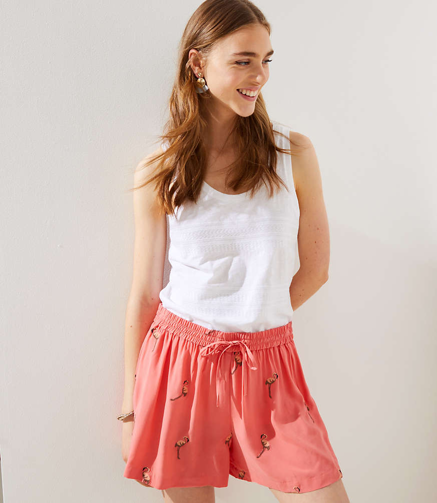Petite Embroidered Flamingo Fluid Drawstring Shorts