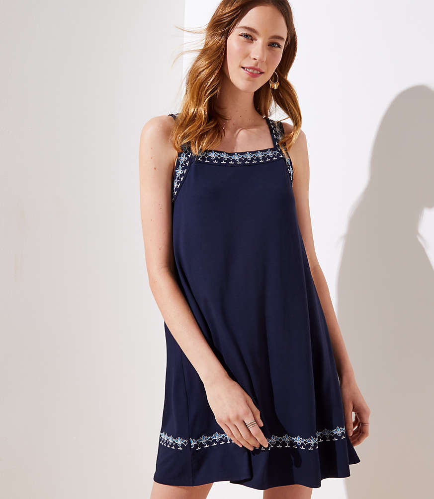 Petite Embroidered Criss Cross Back Dress