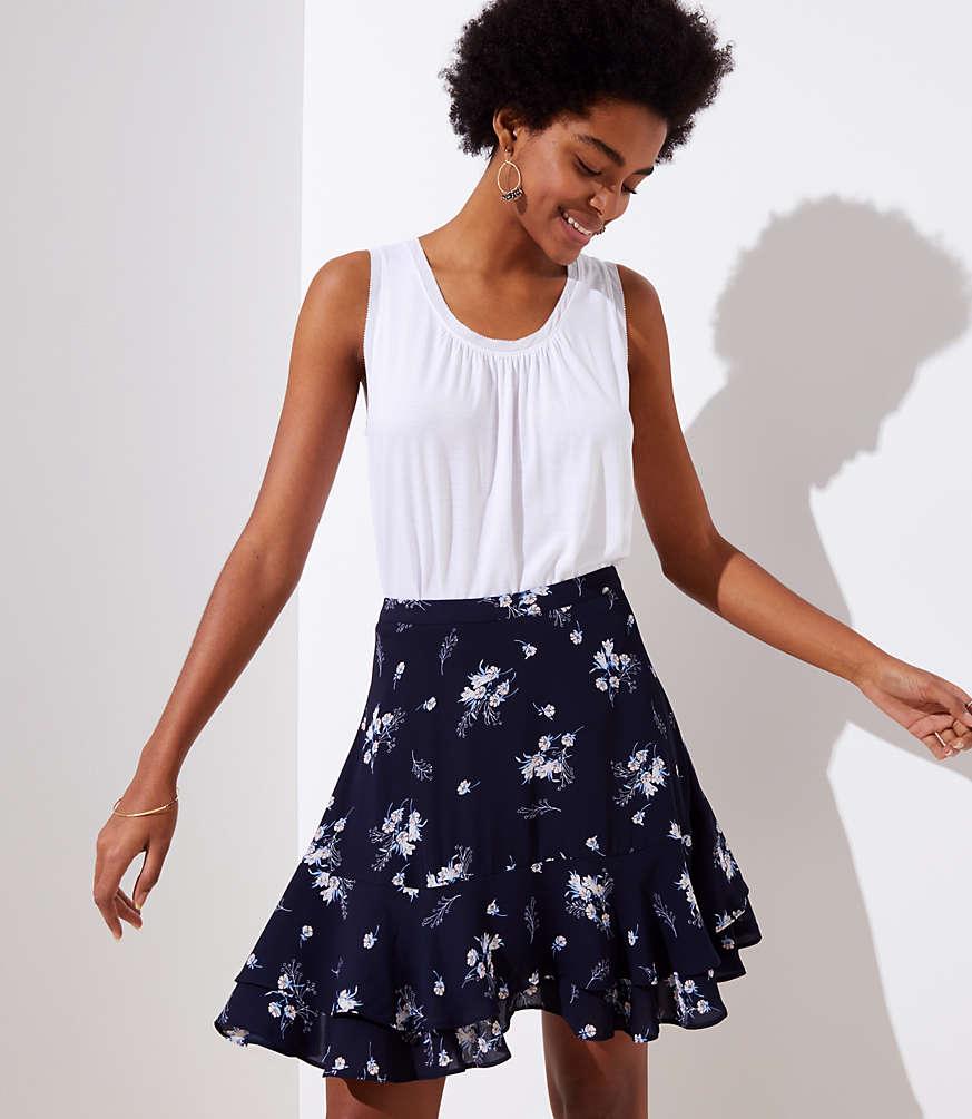 Petite Wild Bouquet Flounce Skirt