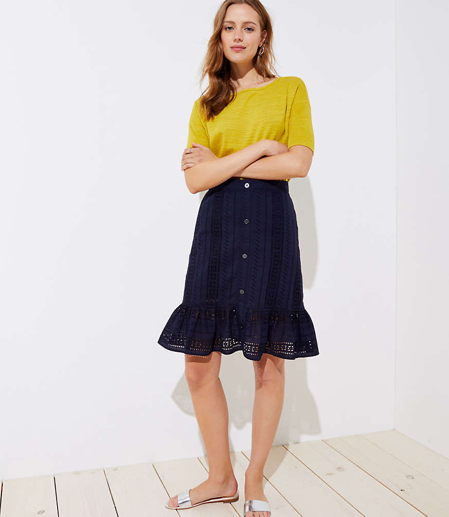 Petite Eyelet Button Front Ruffle Skirt