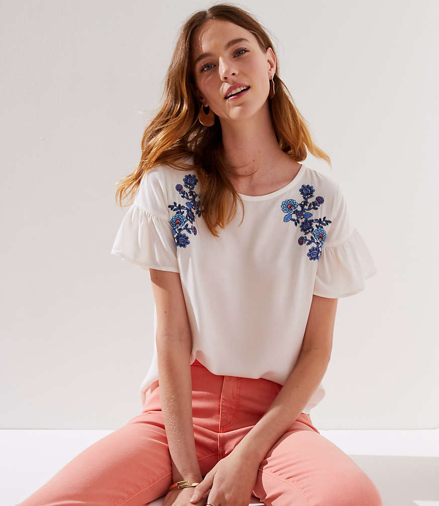 Petite Floral Embroidered Ruffle Cuff Top