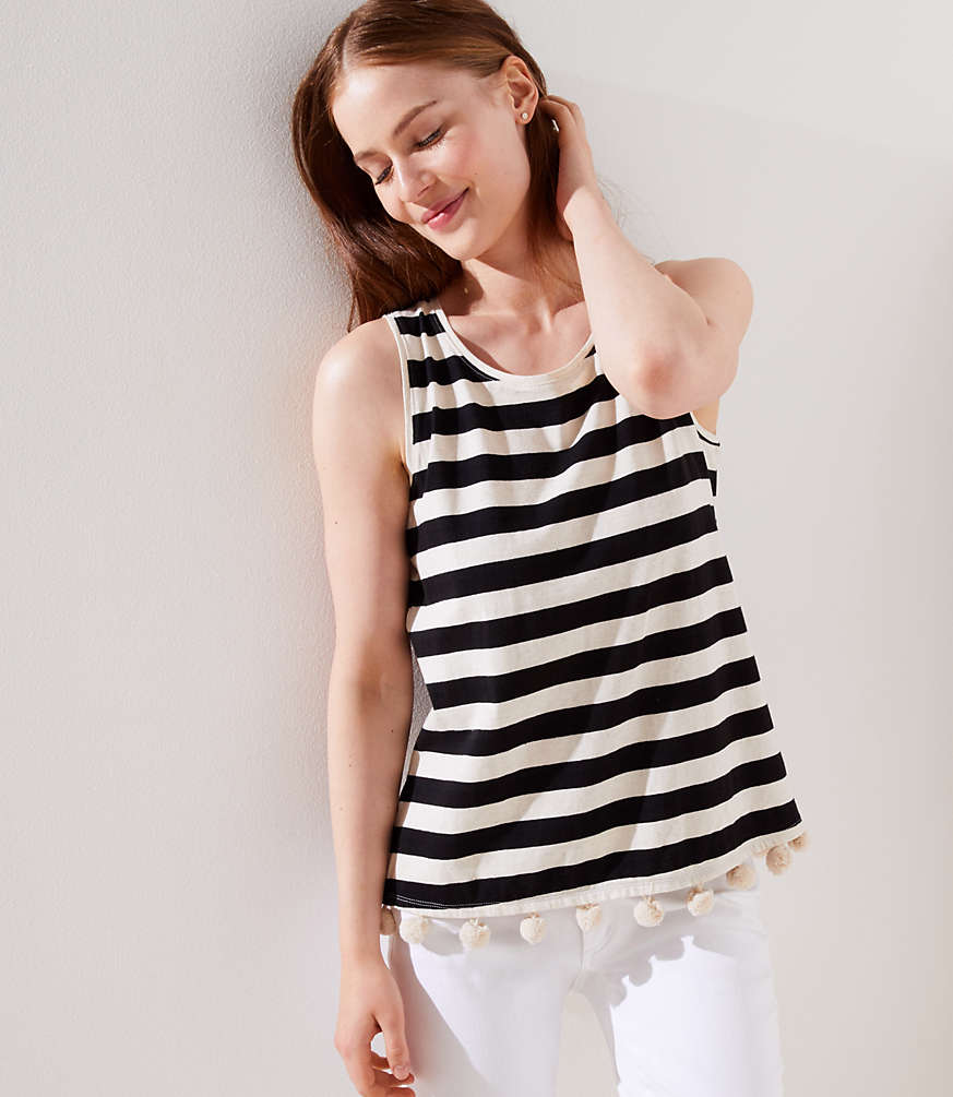 65de670bd4 Shoptagr | Striped Pom Pom Tank by Loft