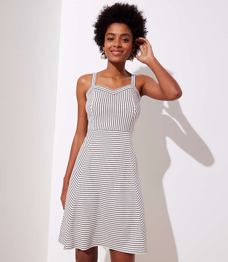 Petite Striped Strappy Flare Dress