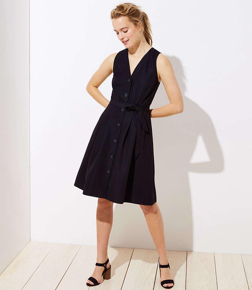 Petite Button Down Pocket Flare Dress