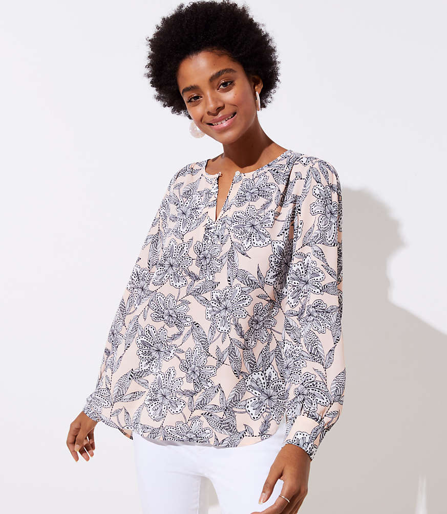 Petite Abstract Floral Keyhole Blouse