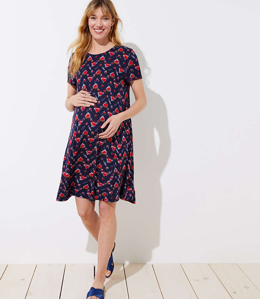Petite Maternity Ikat Short Sleeve Swing Dress