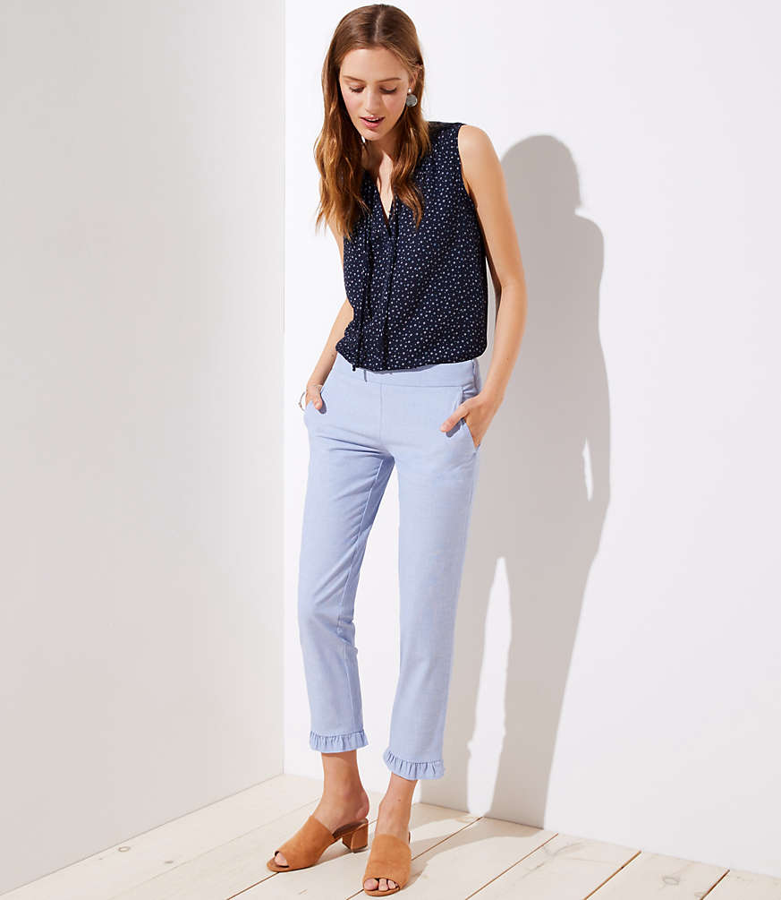 Petite Slim Ruffle Pants by Loft