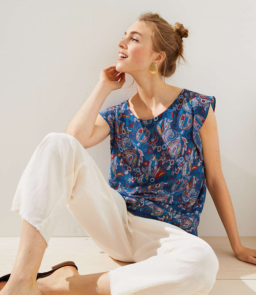 Petite Floral Paisley Flutter Bar Back Top