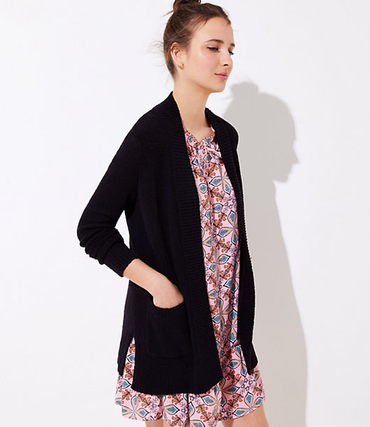 LOFT Rib Trim Pocket Open Cardigan 25188820