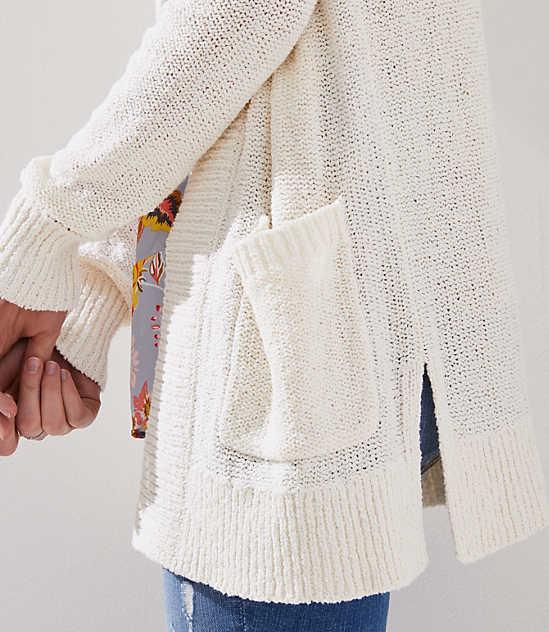 Rib Trim Pocket Open Cardigan color Whisper White