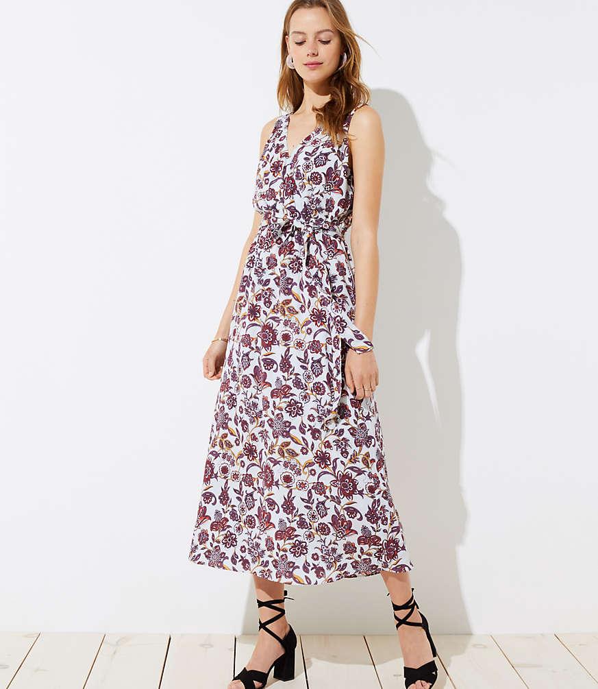 Petite Floral Tie Waist Maxi Dress