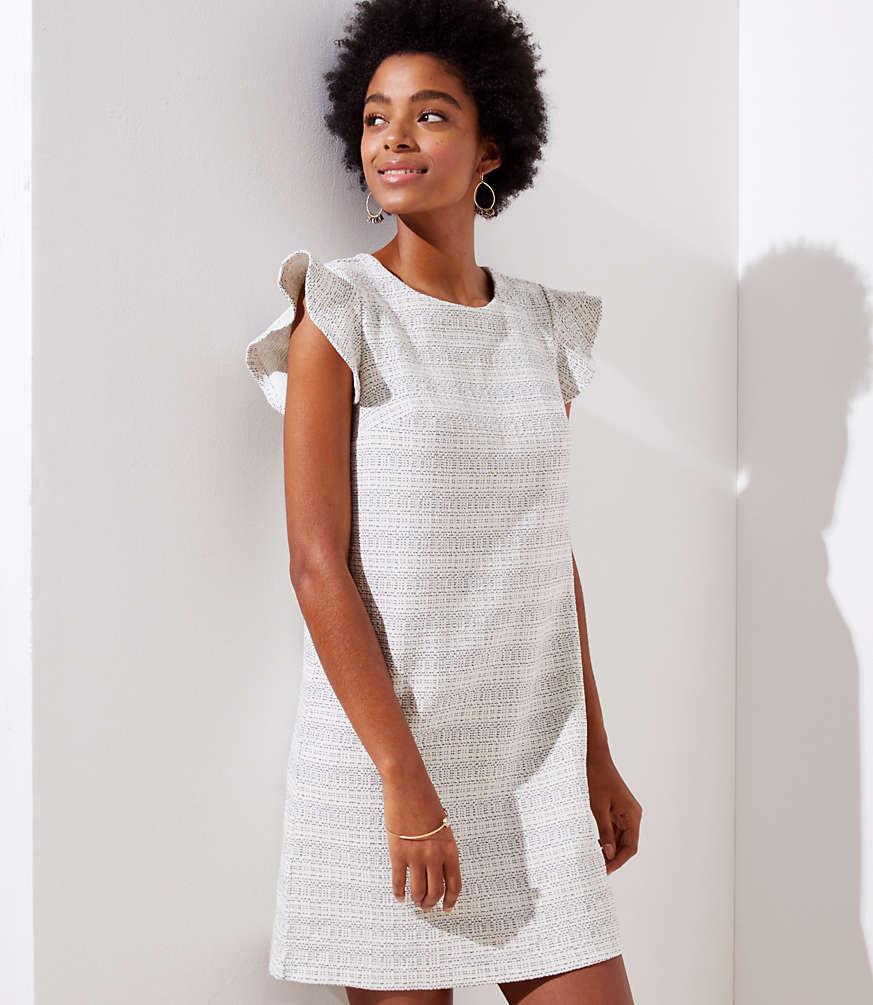 Petite Tweed Knit Flutter Dress