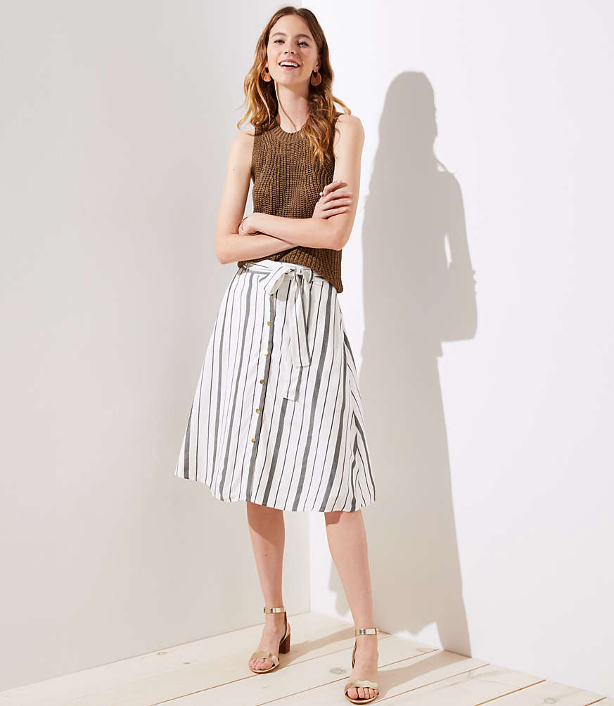 Petite Striped Button Down A-Line Skirt