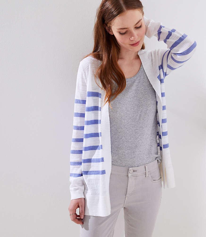 Petite Stripe Textured Open Cardigan