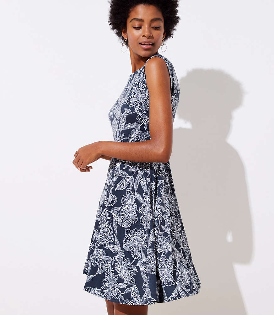 Petite Abstract Floral Wrap Back Flare Dress