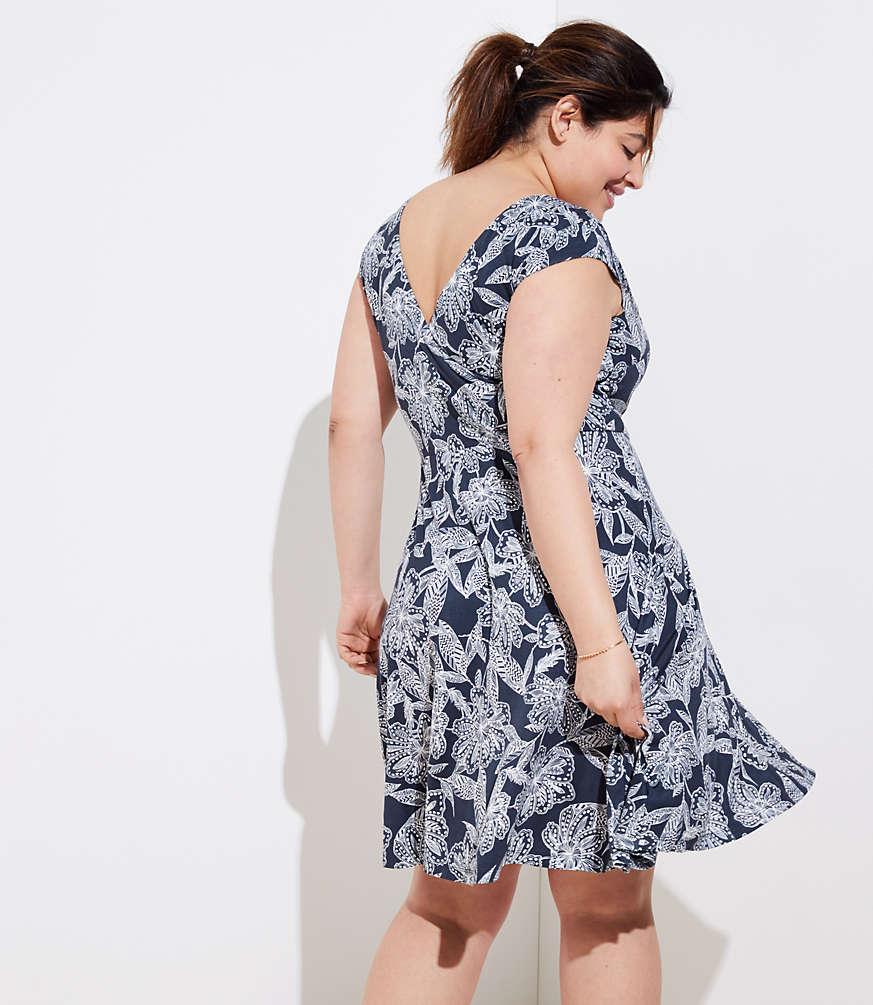 LOFT Plus Abstract Floral Wrap Back Flare Dress | LOFT