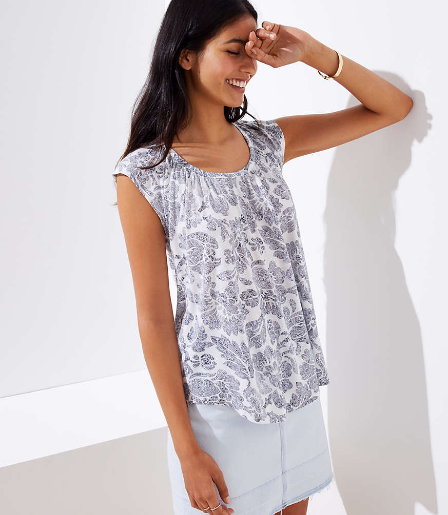Petite Dotted Floral Shirred Tie Back Tee