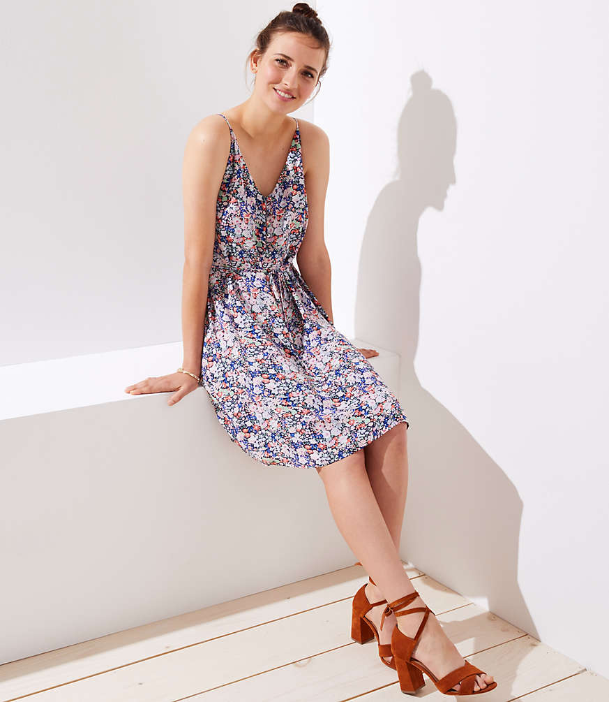 Petite Floral Covered Button Strappy Cami Dress