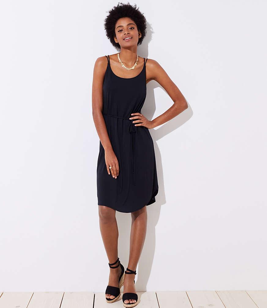 Petite Strappy Tie Waist Cami Dress
