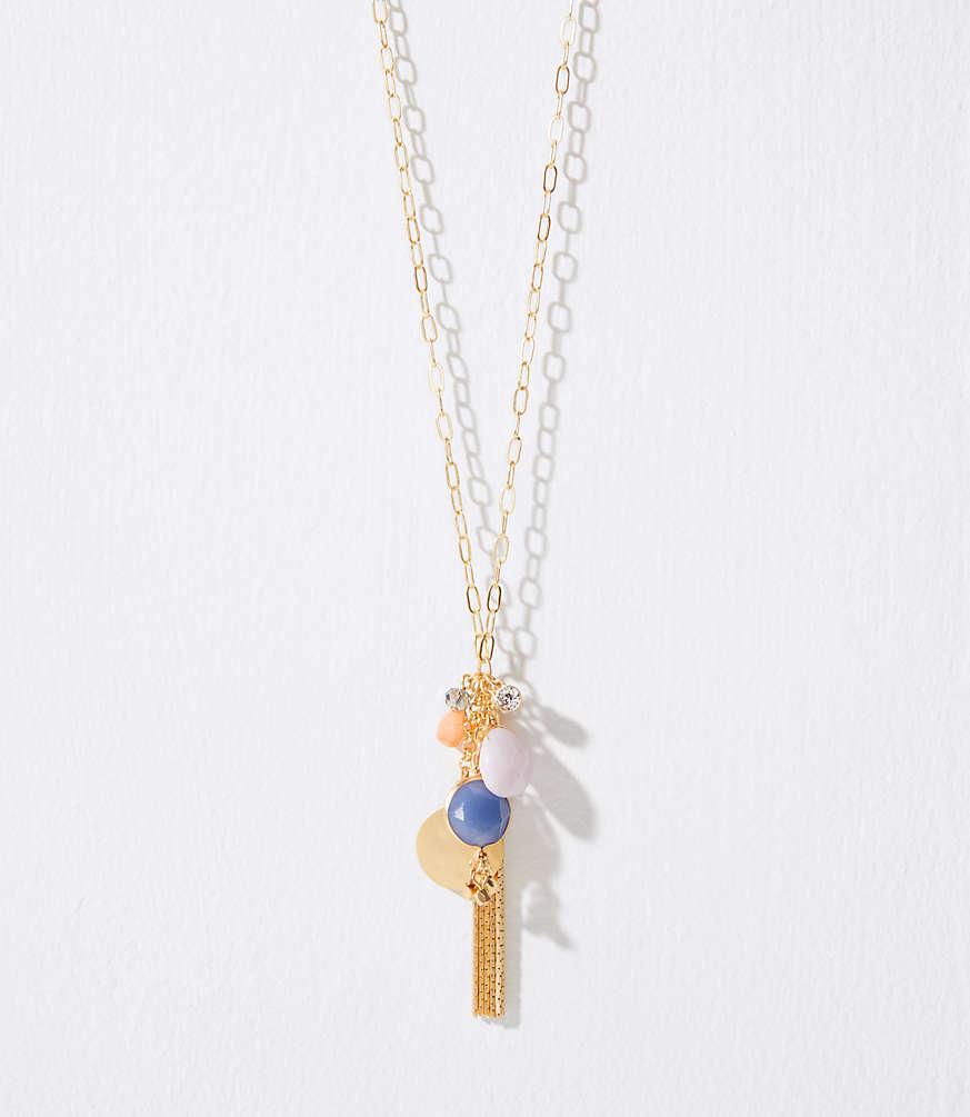 Stone tassel cluster pendant necklace loft aloadofball Images