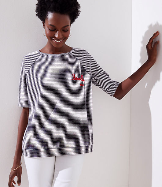 Isn't she lovely? A forever favorite, we designed this soft cotton tee with a can't-resist broken in fit - and sweatshirt-inspired styling. Round neck. Short sleeves. Banded cuffs and hem.