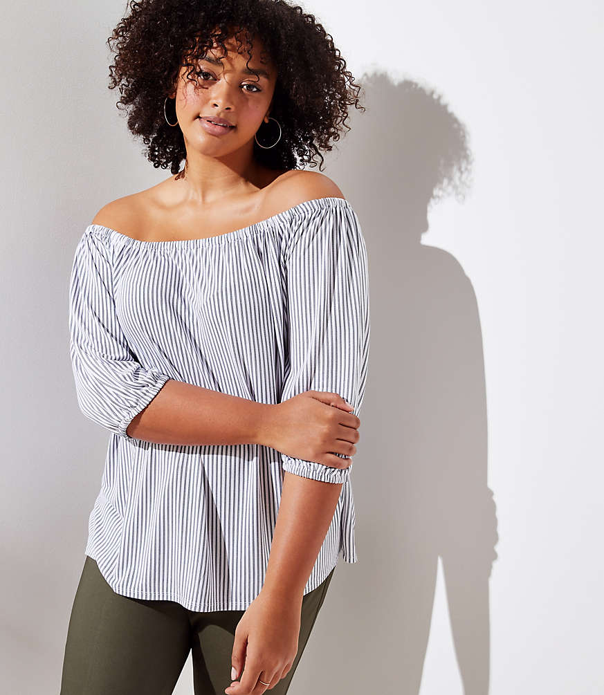 Loft Plus Stripe Sandwashed Off The Shoulder Top by Loft
