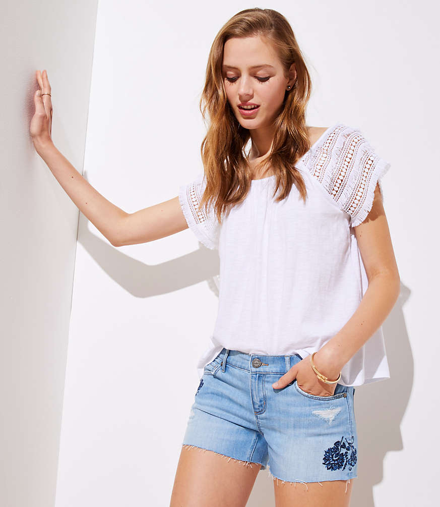 Petite Floral Embroidered Denim Cut Off Shorts