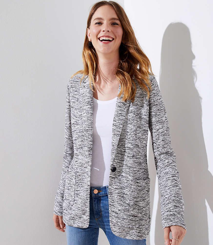 Petite Textured Knit Patch Pocket Blazer