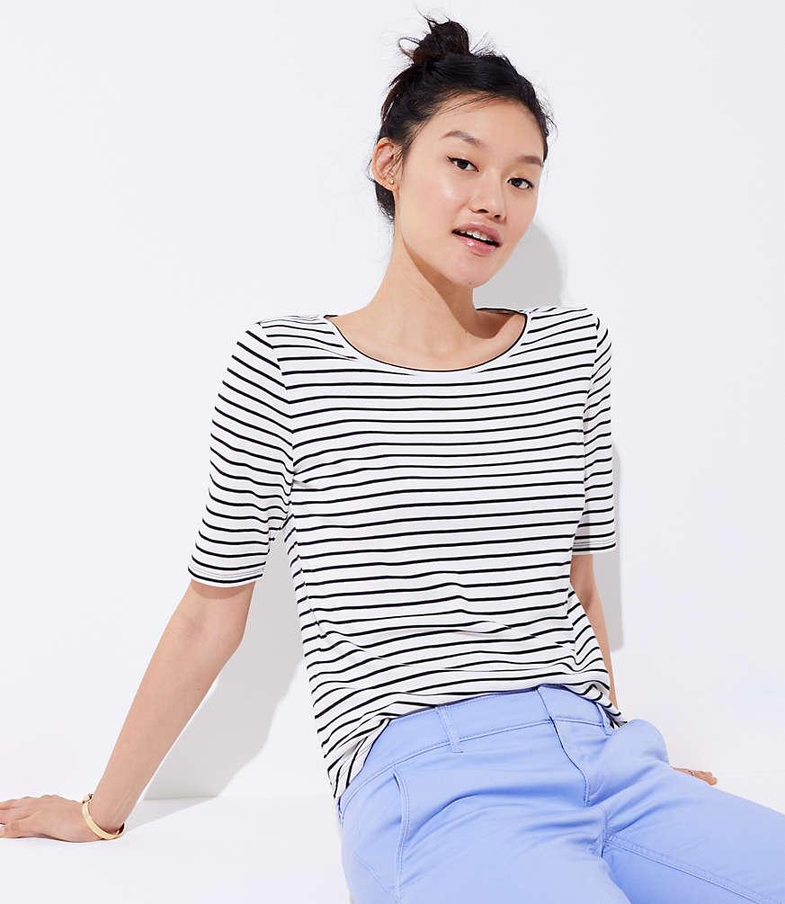 Petite Striped Elbow Sleeve Tee