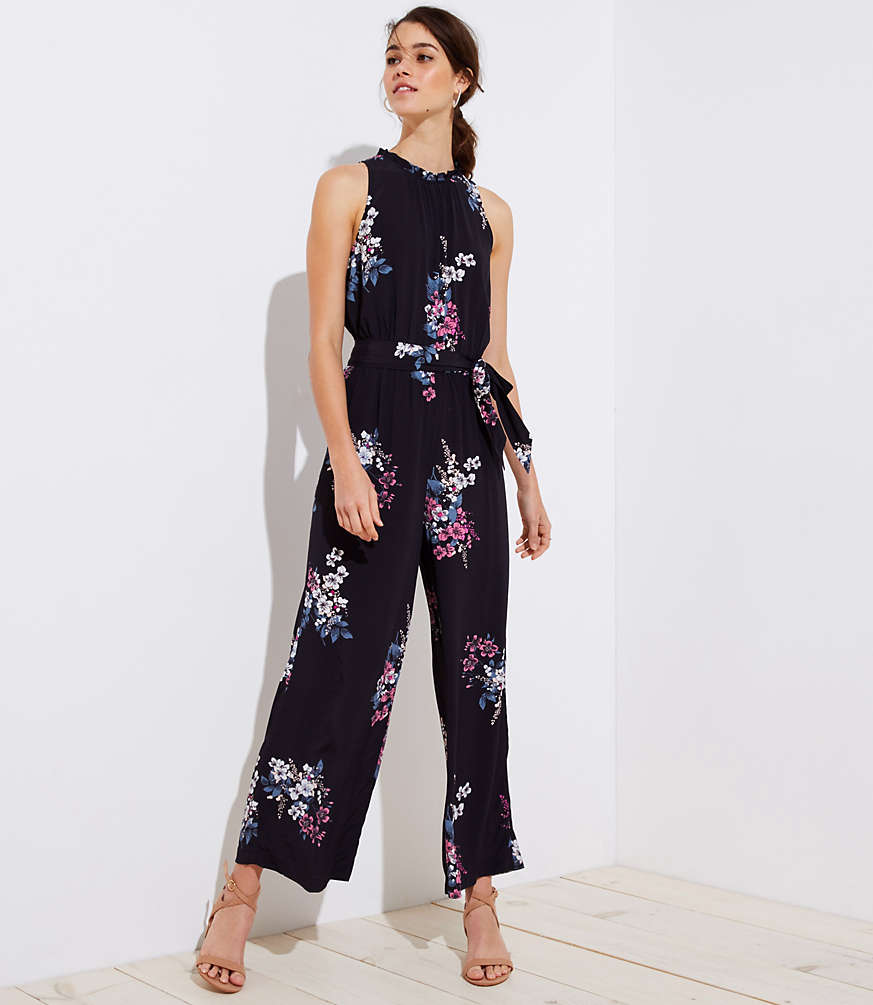 Bouquet Tie Waist Jumpsuit by Loft